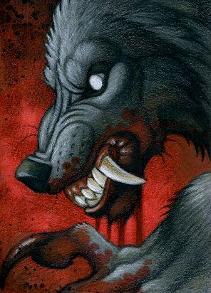 Werewolf Drawings in Pencil | ACEO Werewolf ''Blood'' - The Art of H. Kyoht Luterman