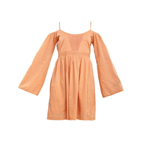 Monica Dogra For Stylista Dani's Peach Peasant Dress ($49) ❤ liked on Polyvore featuring dresses, red ruched dress, shirring dress, gathered dress, sleeved dresses and shirred dress