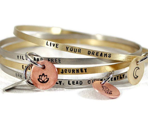 Personalized Mantra Bangle Bracelet With Dangle Disc Charm.