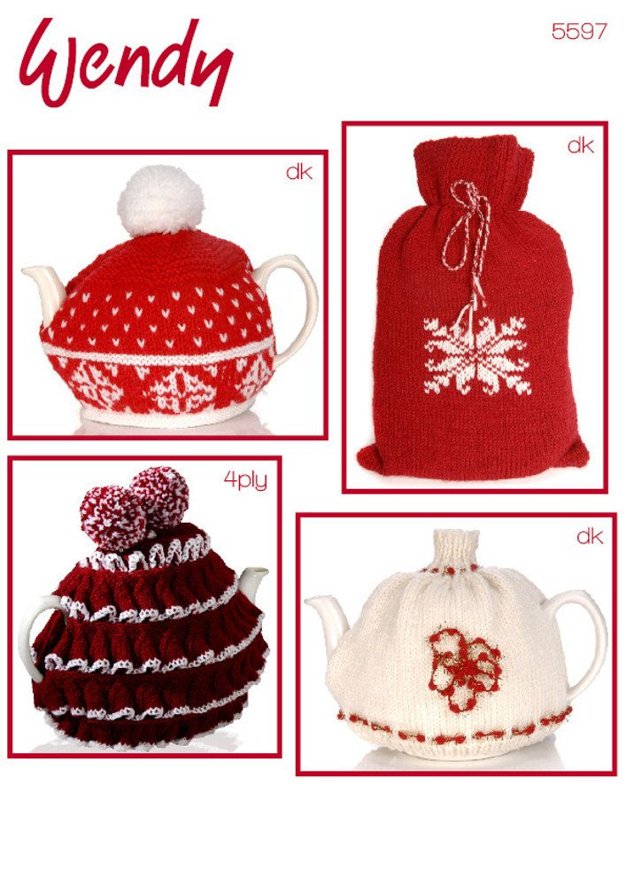 Cosy up with this collection of Wendy DK and 4 ply knitting patterns... Three teacosies and a fantastic Scandinavian-style snowflake hot water bottle cover.