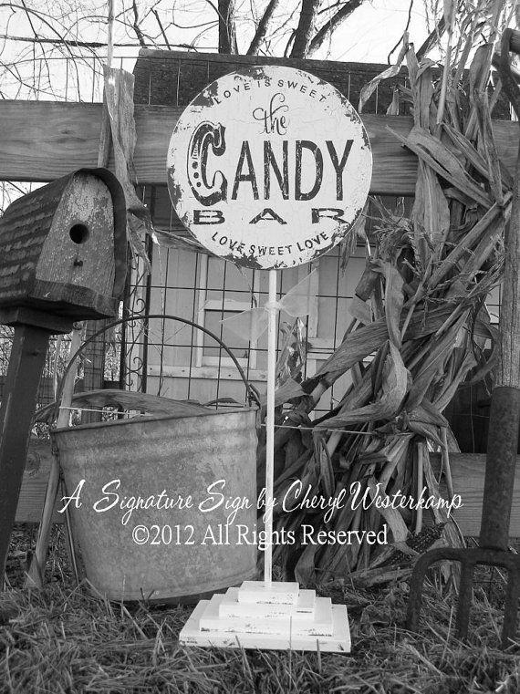 Vintage CANDY BAR SIGN Self Standing by MyPrimitiveBoutique, $59.00