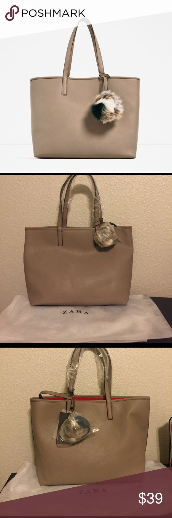 BRAND NEW! ZARA TOTE BAG! NEW! Never used with dust bag and tags attached. Tan color ZARA tote bag! Zara Bags Totes