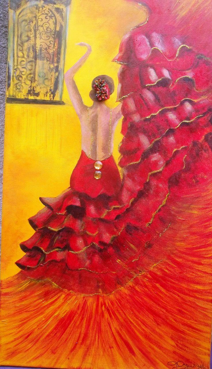 Flamenco Dancer Acrilico, transferencia, texturas 40 x 70 cm