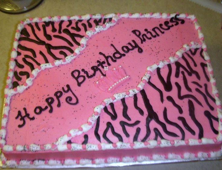 Zebra Print Birthday 11x15 sheet cake. Used all buttercream.