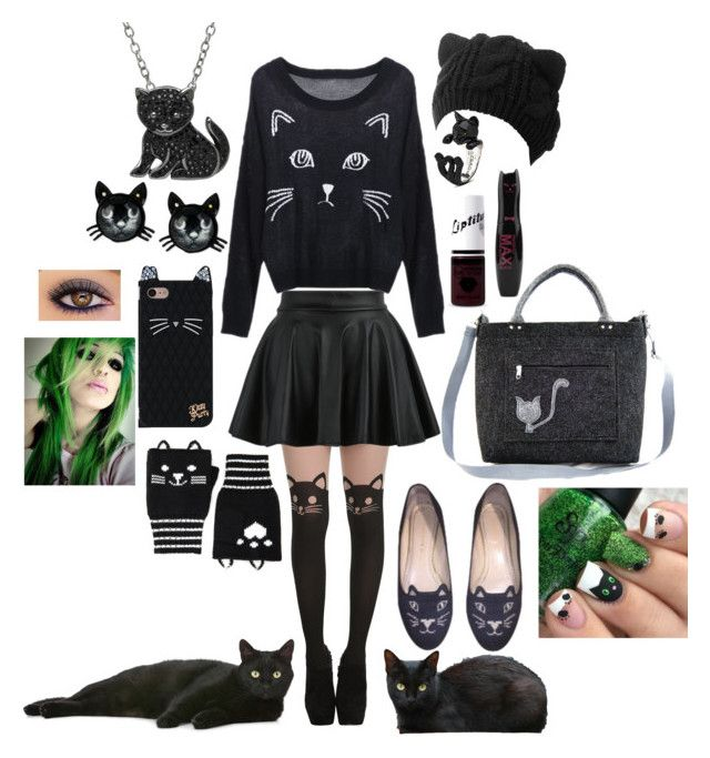 """""""Black cat"""" by loa-chan on Polyvore featuring moda, Forever 21, Charlotte Olympia, Betsey Johnson, Animal Planet y Pusheen"""