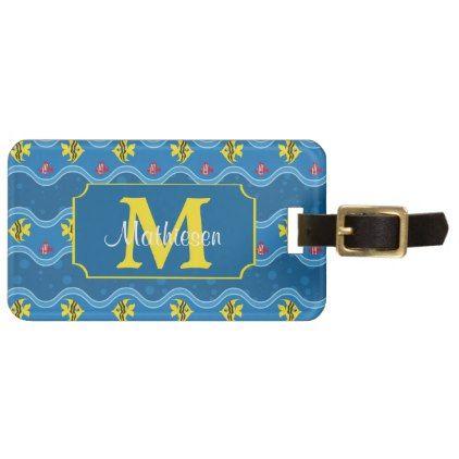 Here Fishy Fishy Monogram Luggage Tag - monogram gifts unique design style monogrammed diy cyo customize