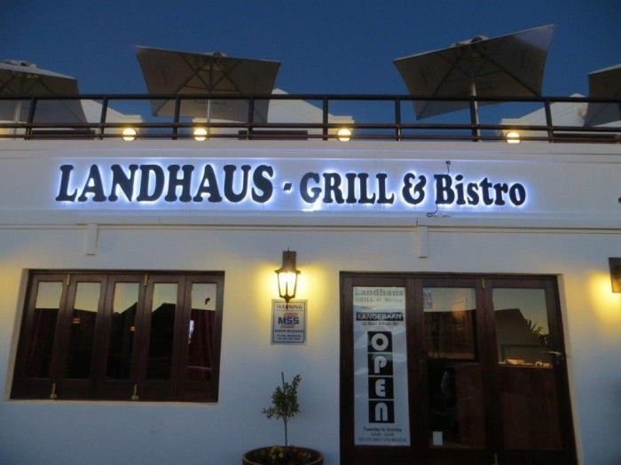 Landhaus Grill and Bistro is situated a stones throw away from the beautiful Langebaan Lagoon. We offer a variety from sea food to steaks to German dishes and Indian food. We have 2 floors and the upstairs area offers an excellent view of the Lagoon from our terrace. The terrace offers a stunning sunset view. http://www.landhausrestaurant.co.za