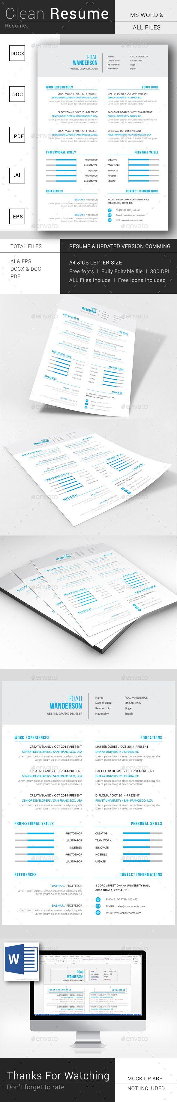 Clean Resume #elegant #cv U2022 Download Here → Https://graphicriver.  Illustrator Resume Templates