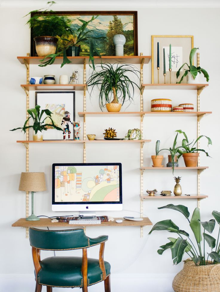 This little corner where I spend most of my time is looking pretty green lately! It's like a big potting bench/shelf. This wall unit looks good pretty much anywhere. I want to eventually ditch all the tchotchkes and fill it with just plants. Alright, my vintage vultures, have wonderful weekend!