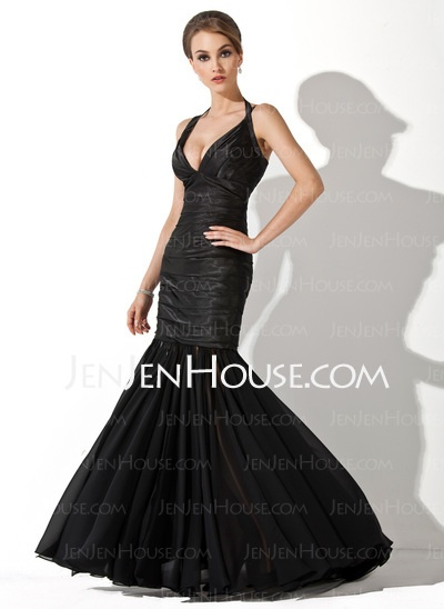 Evening Dresses - $168.99 - Mermaid Halter Floor-Length Chiffon Evening Dresses With Ruffle (022020854) http://jenjenhouse.com/Mermaid-Halter-Floor-Length-Chiffon-Evening-Dresses-With-Ruffle-022020854-g20854