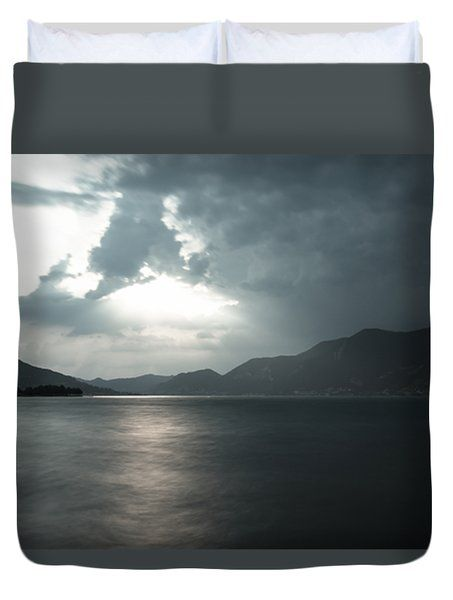 Stormy Sunset On The Lake Duvet Cover by Cesare Bargiggia