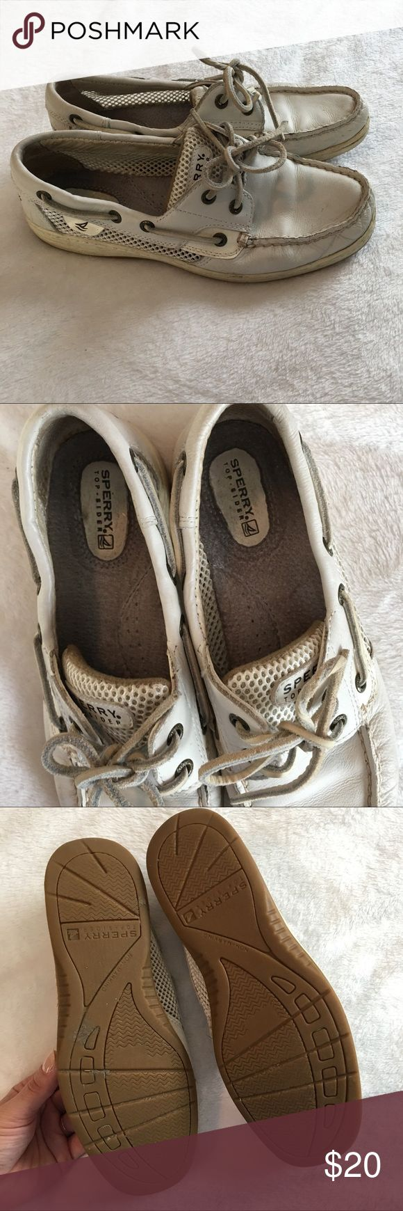 White Sperry Boat Shoes Pre-loved condition. Nothing wrong with them other than that they aren't as clean as they came. Sperry Top-Sider Shoes