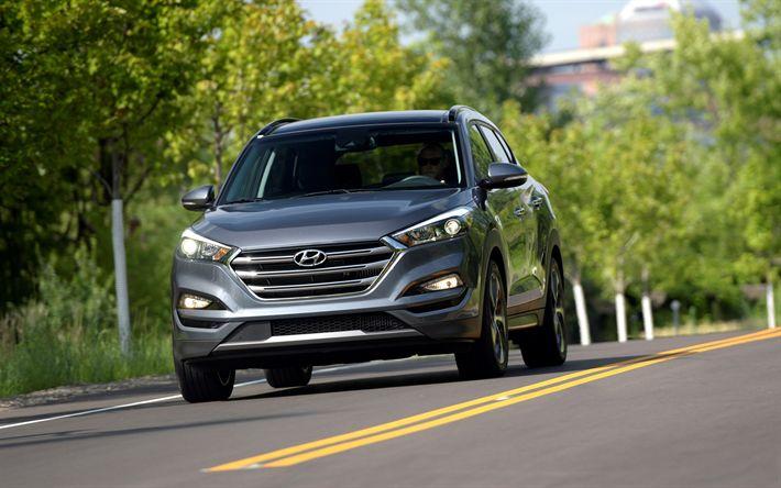 Download wallpapers Hyundai Tucson, 2018, 4k, front view, gray new Tucson, crossovers, South Korean cars, Hyundai