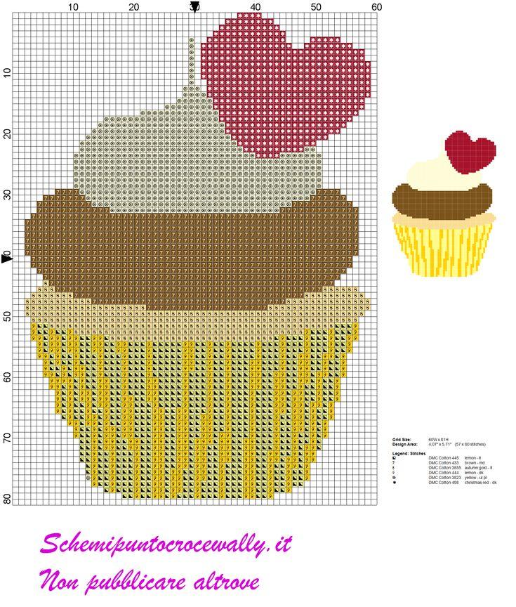 Schema punto croce cupcake con cuoricino cose da for Schema punto croce orsetto