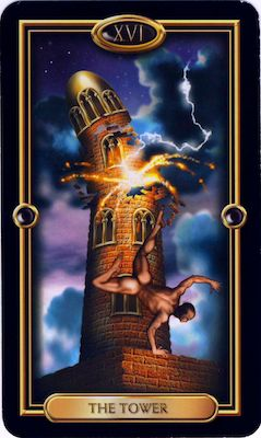 """16/7 vibration of 7 energy - The Tower represents flashes of wisdom received as """"enlightenment"""".  It is the overturning of current by unseen events, things you didn't know which apply at this moment.  It is also the upheaval of old systems from higher ideals put into place.    Key Words:  Change, Eruption, Upheaval, Exposure, Cataclysm, Blind-sided, Sudden Shift    www.numerologysecrets.org"""