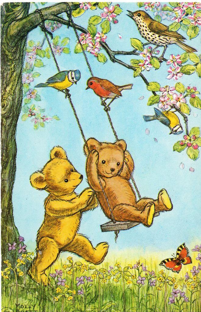 Teddy bears playing on tree swing in spring (by Molly Brett)