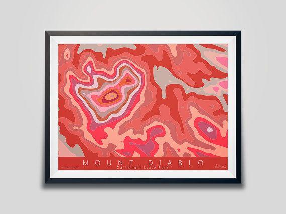 Mount Diablo Topo Map Art - California State Park | Danville, Ca | Walnut Creek, Ca, | Contra Costa County | Contour Map | Topo map