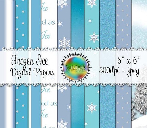 Frozen Ice Digital Papers  Pattern paper Sea by Beauladigitals
