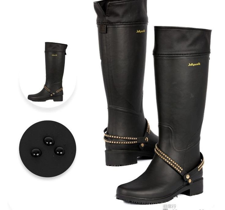 Waterproof High-Quality Rubber Waterproof Fashion Design Knee-High Motorcycle-Style Rain Boots 3 Colors 5-9