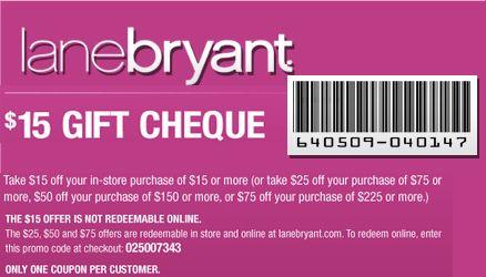 Lane Bryant Gift Cheque   Lane Bryant Printable Coupons   Pinterest