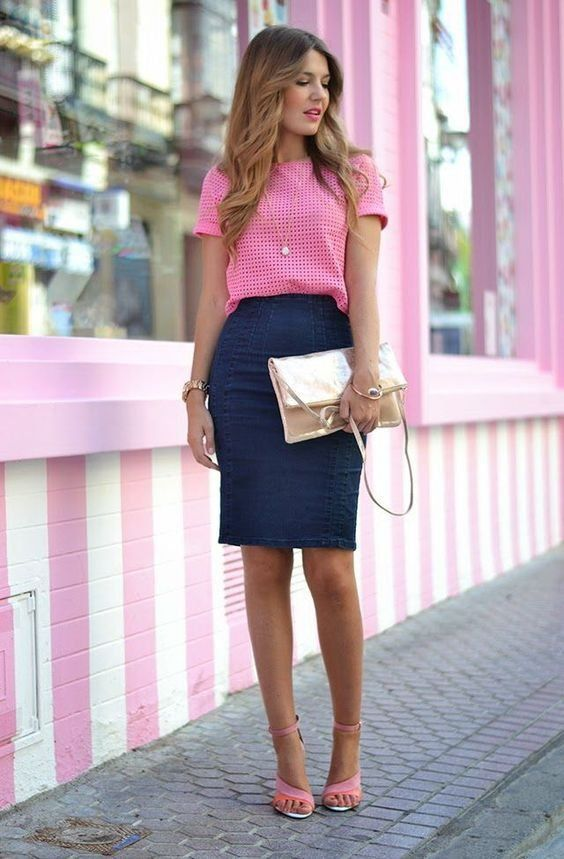Top pink e saia preta | Moda feminina in 2019 | Pinterest | Outfits, Fashion and Work attire
