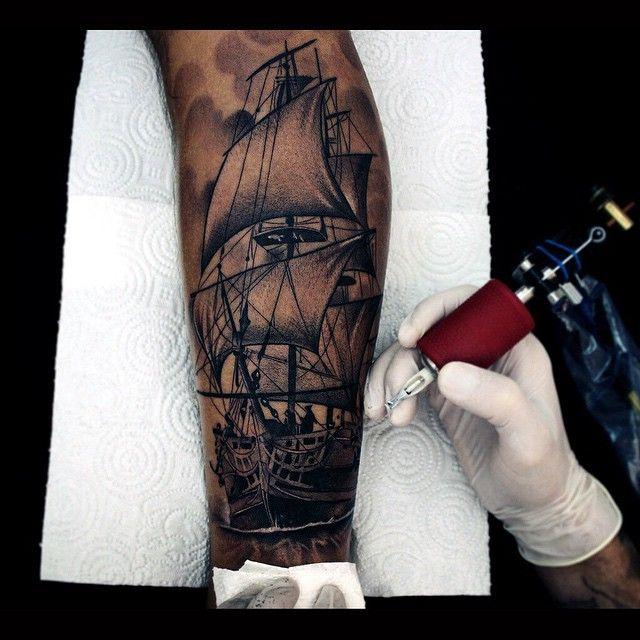 Graphic Ship Sails Tattoo