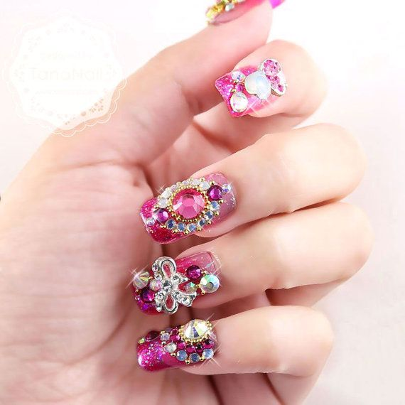 Japanese 3D Nail Art, Press On Nails, False Nails - Vintage Indian Style Violet Glitter Square Nails (T127K) on Etsy, $35.83 CAD