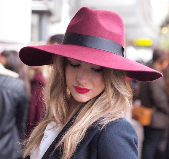 Grande Burgundy Fedora (with large brim). Oversized fedora with adjustable headband. Dusky pink summer classic!