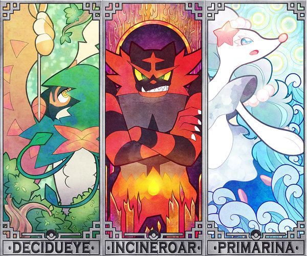 Pokemon Sun and Moon starters by Quas-quas on DeviantArt
