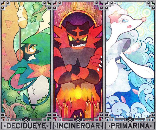 Pokemon Sun and Moon starters by Quas-quas on DeviantArt