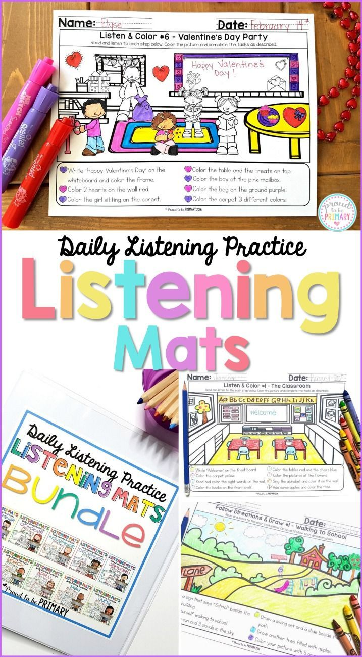 Help kids practice and build their listening skills and following instructions at school daily with Listening Mats. The activities are great for whole group or small group instruction, homework, centers, fast finishers, and morning work.