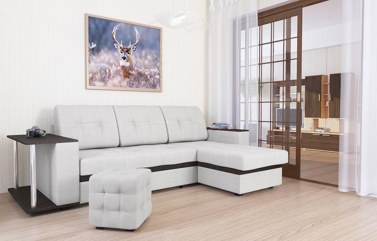 """Диван-кровать угловой АТЛАНТА, экокожа Tresor White (белый) Стильный, компактный, угловой диван-кровать """"Атланта"""" (белый), экокожа с деревянными подлокотниками и ящиком для белья, механизм """"«дельфин»"""", прекрасное решение для гостиных комнат. Модель обладает высочайшим комфортом посадки и спального места при компактных размерах в разложенном варианте. В положении """"кровать"""", диван имеет заднюю планку, которая отделяет спальное место от стены."""