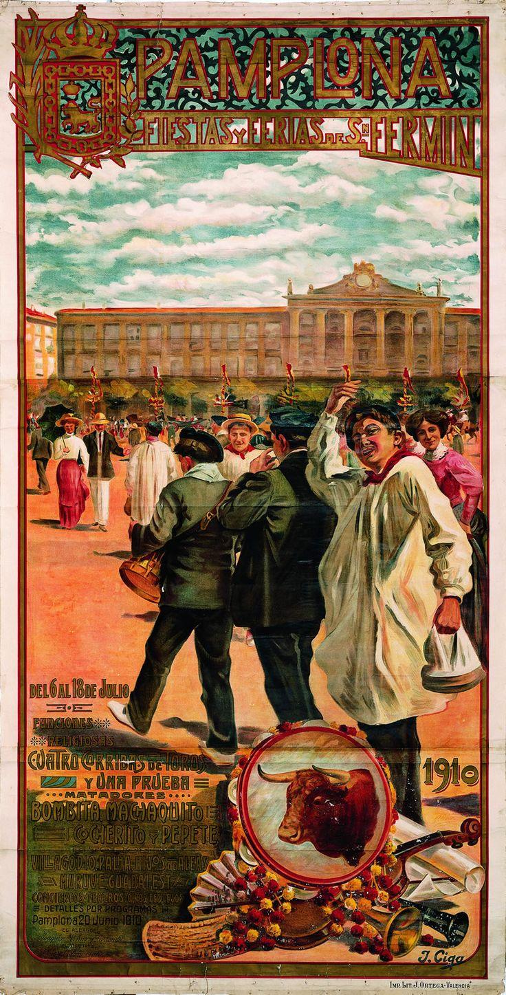 Cartel de los Sanfermines de 1910 - Ferias y fiestas de San Fermín, Pamplona :: Autor: Javier Ciga. #Pamplona