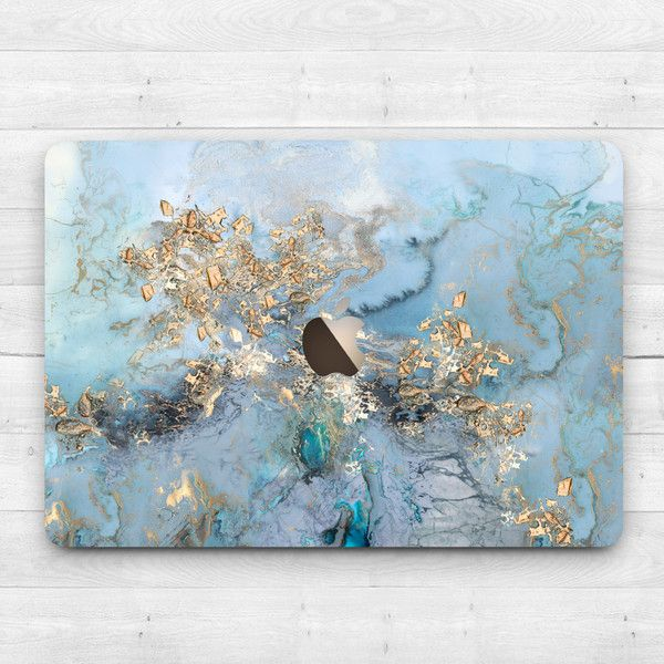 Gold blau Marmor Case Macbook Air 11 Air 13 Perle Macbook Pro 13 15... (£45) ❤ liked on Polyvore featuring accessories and tech accessories