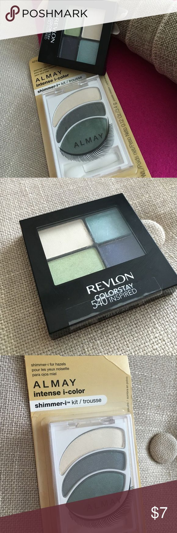 """SOLD FREE GIFT Revlon Almay Eyeshadow Bundle This Revlon Almay Eyeshadow Bundle includes 1 Revlon Colorstay eyeshadow quad in """"Inspired"""" and one Almay intense i-color kit in """"shimmer-i for hazels."""" Both eyeshadows are brand new never been opened. Haven't worn eyeshadow in awhile so it's best they go to home where they'll get some use! Revlon Makeup Eyeshadow"""