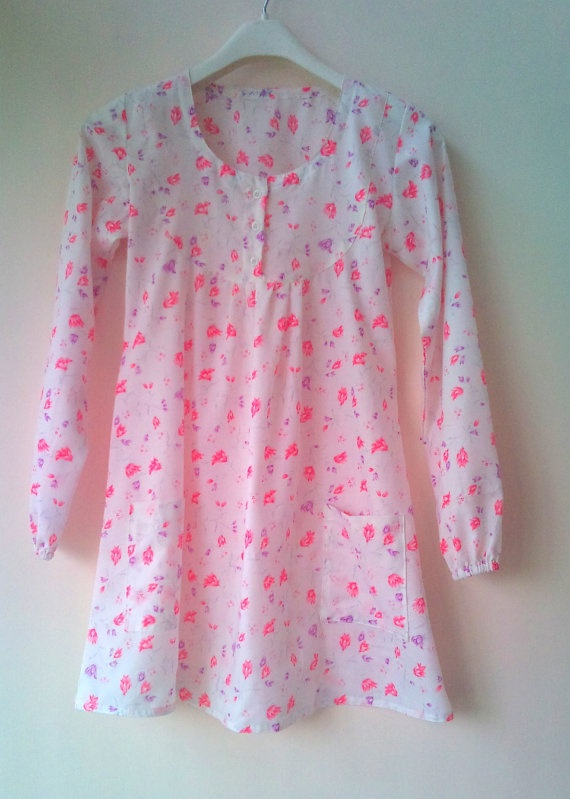 Pink flower babydoll tunic blouse by chezvies on Etsy, $20.00