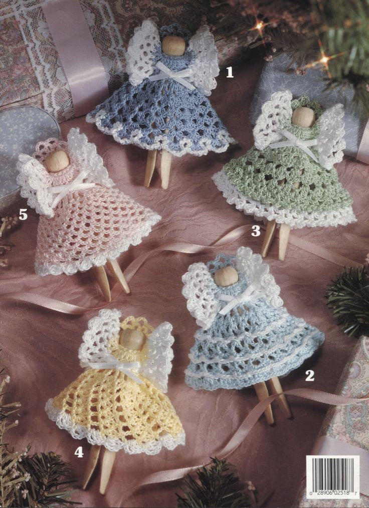 Maybe use doilies from dollar store??Christmas Clothespin Angels, Crochet Angel Ornaments Pattern, Leisure Arts 2518. $5.95, via Etsy.