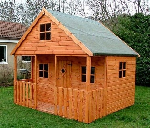 17 best log cabin playhouse images on pinterest play for Wooden playhouse with garage