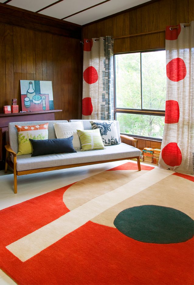 popMid Century Modern, Circles, Curtains, Living Rooms, Polka Dots, Modern Living, Lounges, Floors Design, Rugs