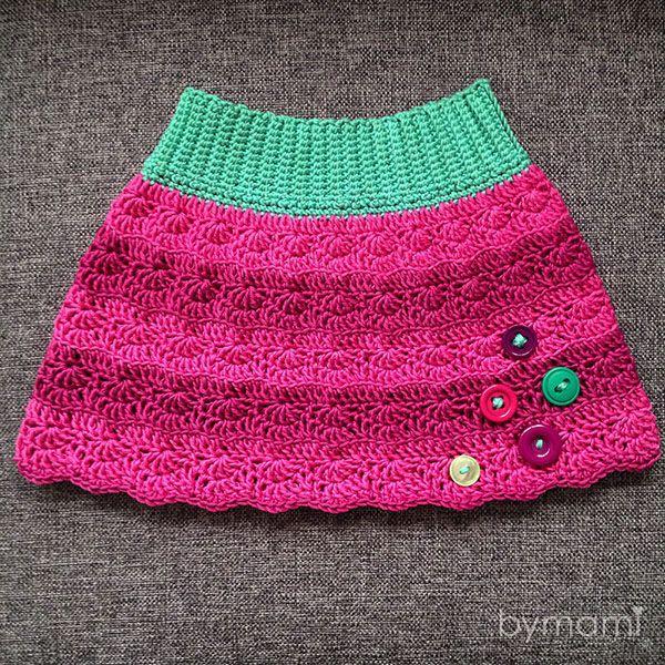 Sød hæklet nederdel til pigerne. Angiven størrelse: 2–3 år. Kan tilpasses alle størrelser.