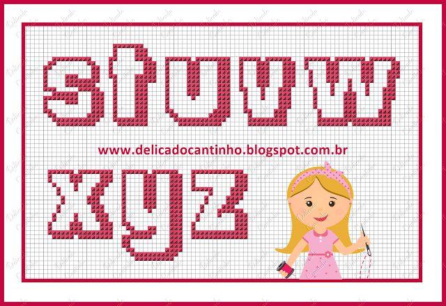 Delicado Cantinho: Gráficos Ponto Cruz Ursinha Rainha + Monograma