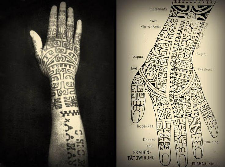 Hand tattoos of a Marquesan woman, ca. 1920.