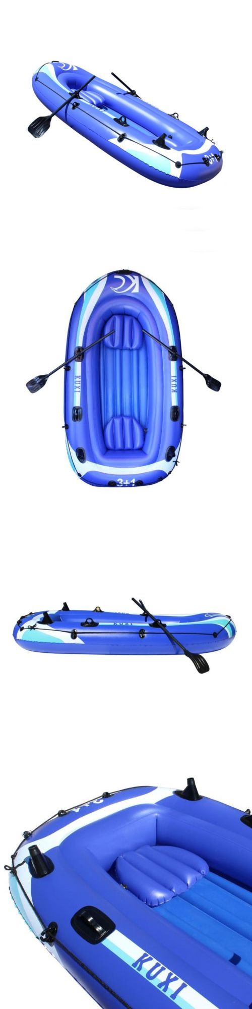 Other Kayak Canoe and Rafting 36123: Aleko 8 Ft Inflatable Rubber Boat For 3 Person With Set Of Oars Color Blue -> BUY IT NOW ONLY: $69 on eBay!