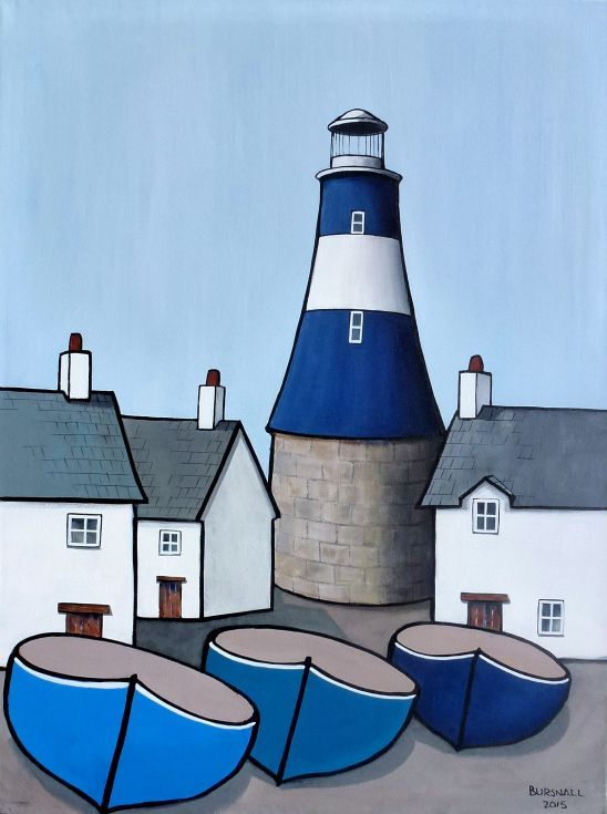 ARTFINDER: Light Aid by Paul Bursnall - A blue and white lighthouse on the quay with houses and boats. Painted in a naïve style on box canvas with the image around the edges so that a frame is not ...
