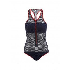 Full bodied mesh swimsuit, the Zuma Zip-Up Racerback One Piece Mesh Swimsuit epitomises Sports Luxe; the mesh swimsuit is perfect for those who want to channel the sporty trend or just can't wait to get into the water and go snorkelling or paddle-boarding. The navy Sports Luxe swimsuit has a daring centre zip and a vibrant red zip that contrasts against a monochromatic body. The opaque underlining across the bust and brief are seamless for a streamline look the racer-back swimsuit exudes…