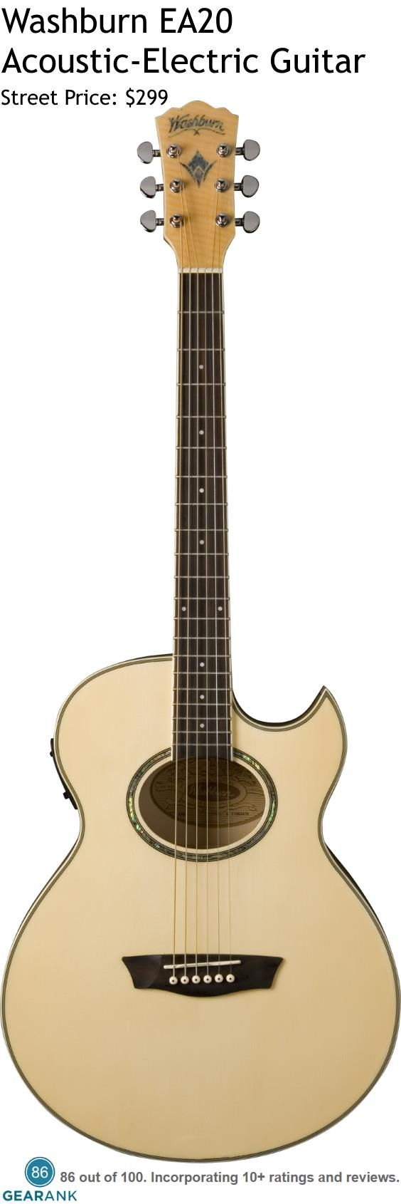 "Washburn EA20 Acoustic-Electric Guitar. Features: Flame Maple Veneer - 1/4"" scalloped sitka spruce bracing - Double action truss rod - Bone Nut and Saddle. For a detailed guide to acoustic guitars see https://www.gearank.com/guides/acoustic-guitars"