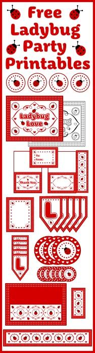 Free Full Set of Ladybug Party Printables