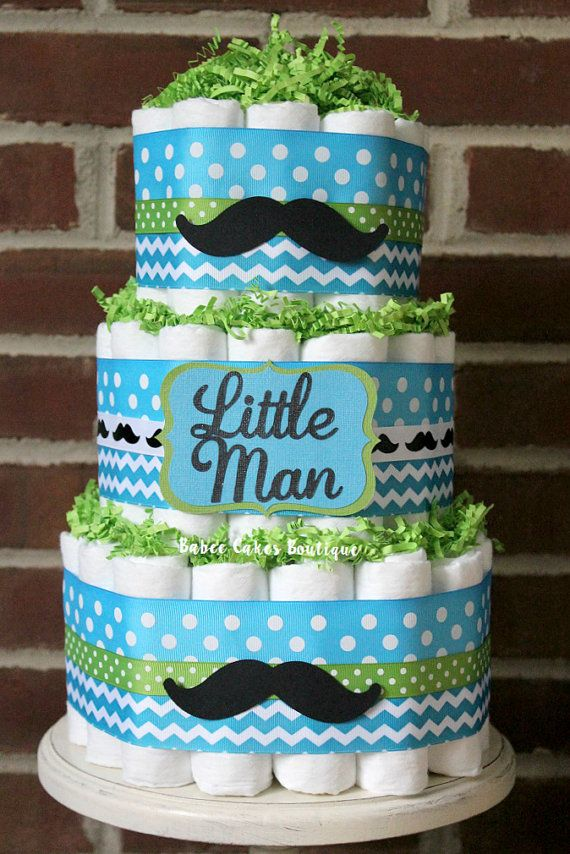 3 Tier Little Man Mustache Diaper Cake, Boy Baby Shower, Little Man Baby Shower, Blue and Green Mustache Shower Cake, Decor, Aqua Lime Green