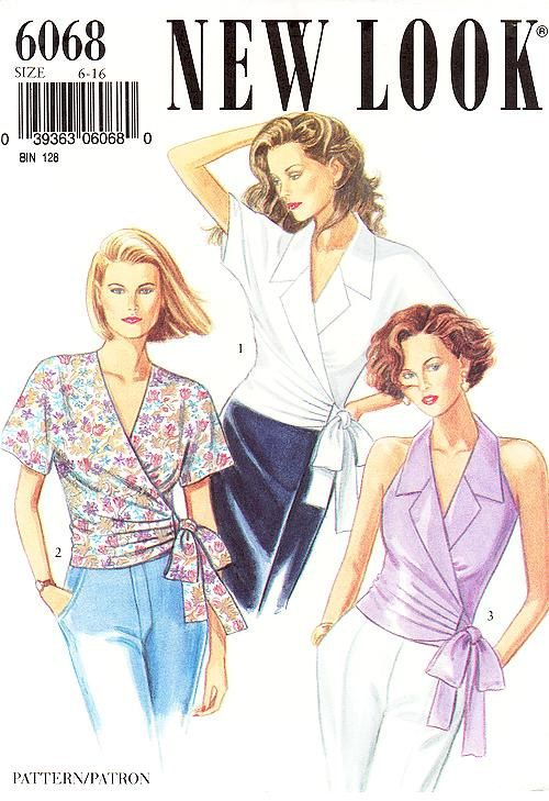 90's New Look Top Pattern 6068 -  Misses' Surplice Wrap Tops in Three Variations - Sz 6 to 16 - Uncut