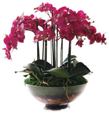 Phalaenopsis Orchid In Glass Flower Arrangement traditional artificial flowers